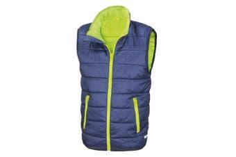 Result Core Childrens/Kids Sleeveless Zip Up Bodywarmer (Navy/Lime) (XL)