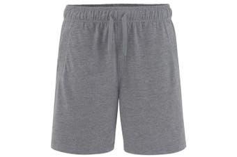 Comfy Co Mens Elasticated Lounge Shorts (Charcoal)