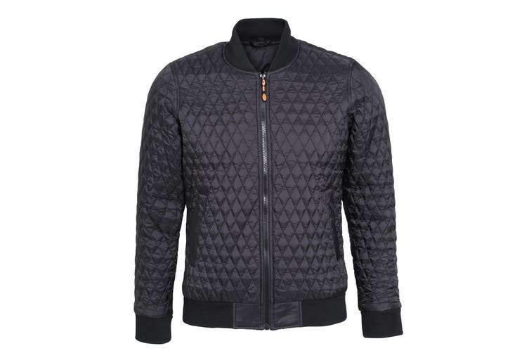2786 Womens/Ladies Quilted Zip Up Flight Jacket (Black) (L)
