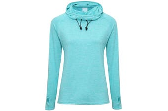 AWDis Just Cool Womens/Ladies Girlie Cowl Neck Baselayer Top (Ocean Blue Melange) (L)