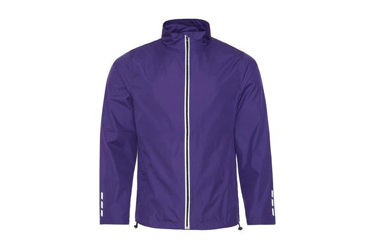 AWDis Just Cool Adults Unisex Showerproof Running Jacket (Purple) (XL)