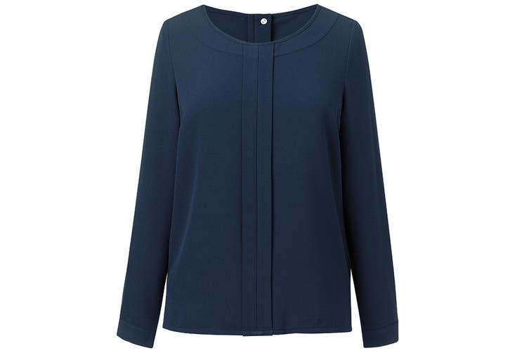 Brook Taverner Womens/Ladies Roma Crepe De Chine Long Sleeved Blouse (Navy) (8)