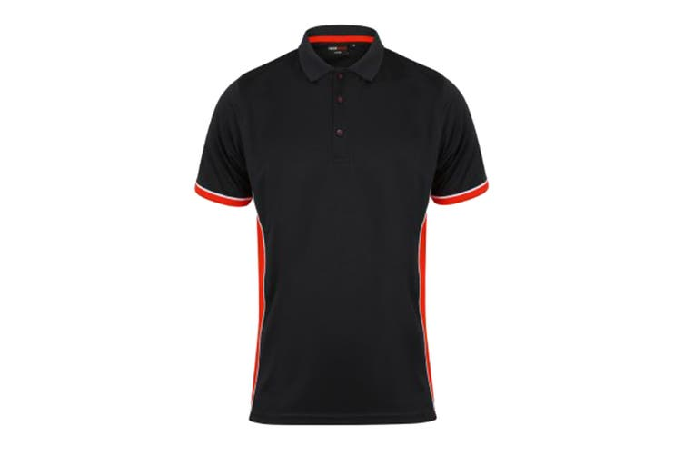 Finden & Hales Mens TopCool Short Sleeve Contrast Polo Shirt (Black/Red/White) (M)