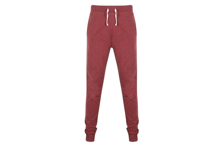 Front Row Mens French Terry Jogging Bottoms (Burgundy Marl) (XS)