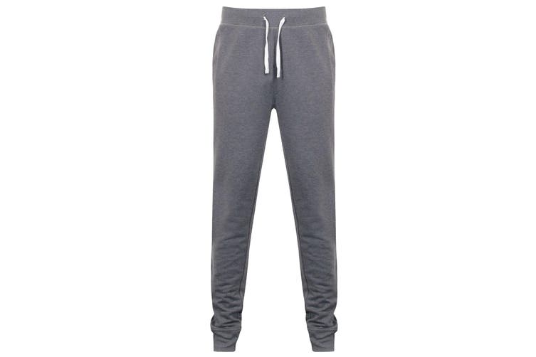 Front Row Mens French Terry Jogging Bottoms (Charcoal Marl) (M)