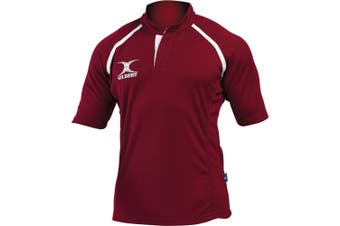 Gilbert Rugby Childrens/Kids Xact Match Short Sleeved Rugby Shirt (Maroon) (11-12 Years)