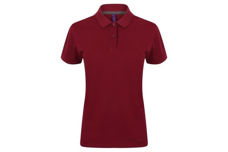 Henbury Womens/Ladies Micro-Fine Short Sleeve Polo Shirt (Burgundy) (2XL)