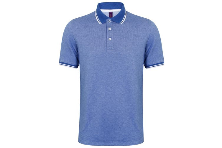Henbury Mens Two-Tone Short Sleeve Piqué Tipped Polo Shirt (Blue/White) (S)