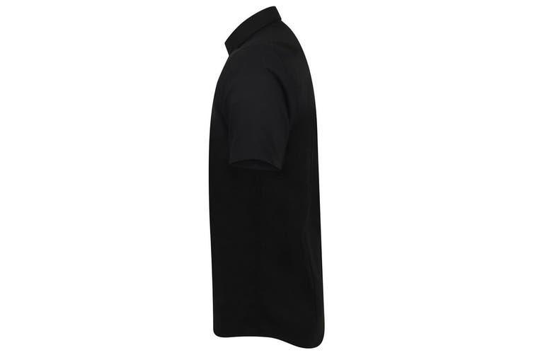 Henbury Mens Modern Short Sleeve Oxford Shirt (Black) (2XLS)