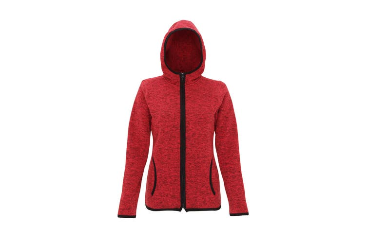 Tri Dri Womens/Ladies Melange Knit Fleece Jacket (Fire Red/Black Fleck) (L)