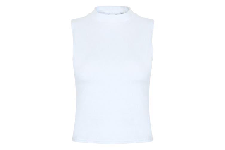 Skinni Fit Womens/Ladies High Neck Crop Sleeveless Vest Top (White) (XS)