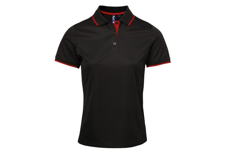 Premier Womens/Ladies Contrast Coolchecker Polo Shirt (Black/Red) (XL)