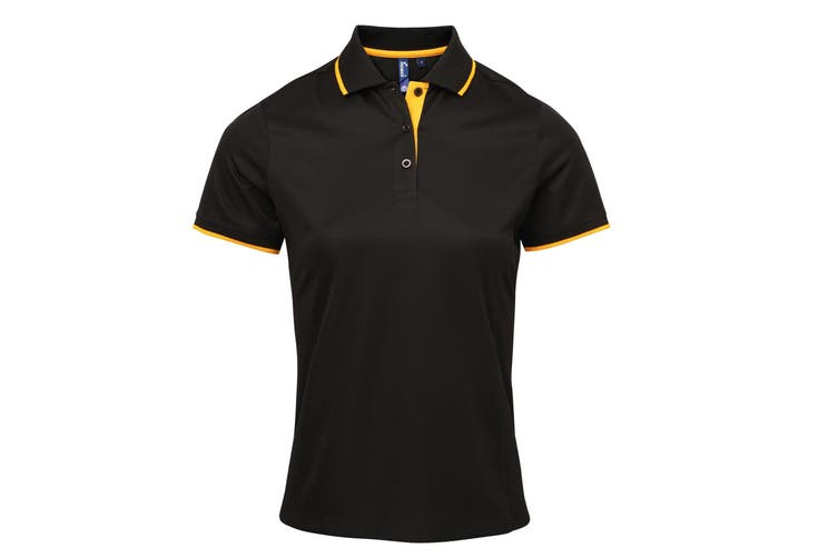 Premier Womens/Ladies Contrast Coolchecker Polo Shirt (Black/Sunflower) (2XL)