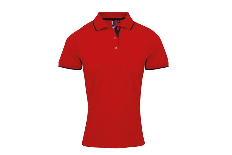 Premier Womens/Ladies Contrast Coolchecker Polo Shirt (Red/Black) (XS)