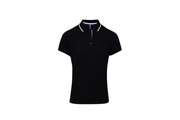 Premier Womens/Ladies Contrast Coolchecker Polo Shirt (Black/White) (L)