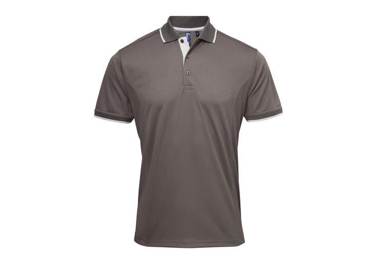 Premier Mens Contrast Coolchecker Polo Shirt (Dark Grey/Silver) (2XL)