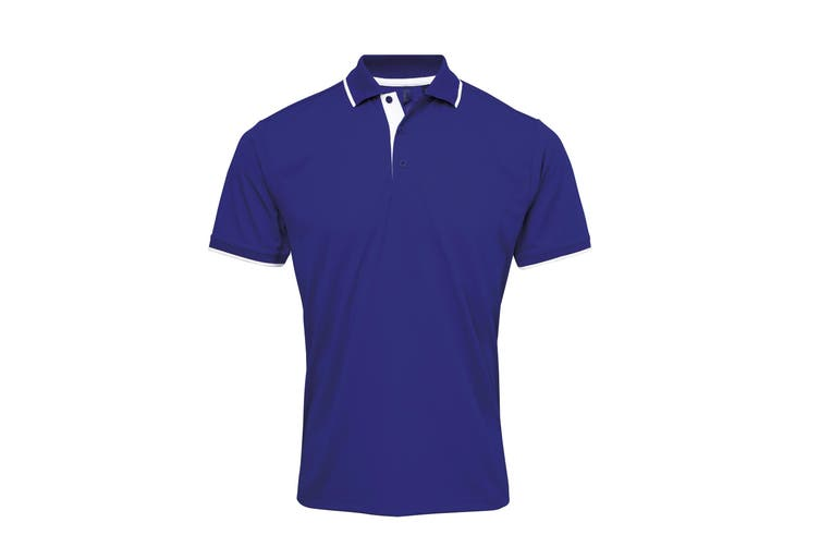 Premier Mens Contrast Coolchecker Polo Shirt (Royal/White) (3XL)
