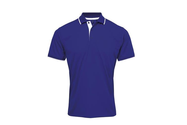 Premier Mens Contrast Coolchecker Polo Shirt (Royal/White) (XL)
