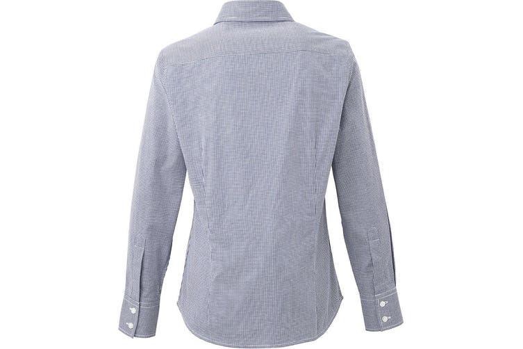 Premier Womens/Ladies Microcheck Long Sleeve Shirt (Navy/White) (L)