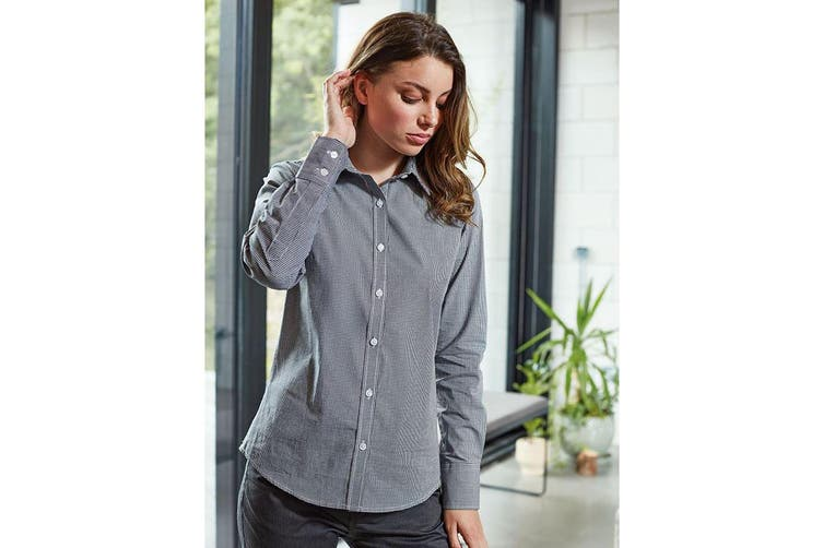 Premier Womens/Ladies Microcheck Long Sleeve Shirt (Navy/White) (S)