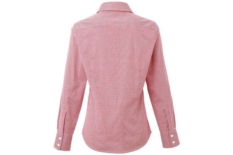 Premier Womens/Ladies Microcheck Long Sleeve Shirt (Red/White) (2XL)