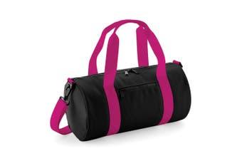 Bagbase Mini Barrel Bag (Black/Fuchsia) (One Size)