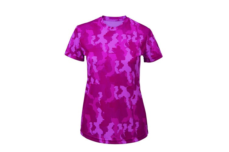 Tri Dri Womens/Ladies Hexoflage Performance Short Sleeve T-Shirt (Camo Hot Pink) (XS)