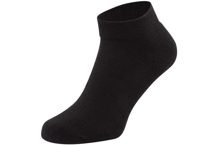 Fruit Of The Loom Unisex Quarter Trainer Socks (Pack Of 3) (Black) (M)