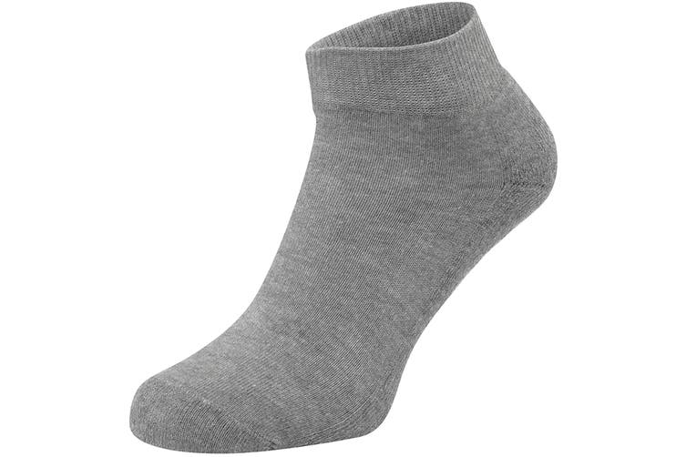Fruit Of The Loom Unisex Quarter Trainer Socks (Pack Of 3) (Heather Grey/Black/White) (M)