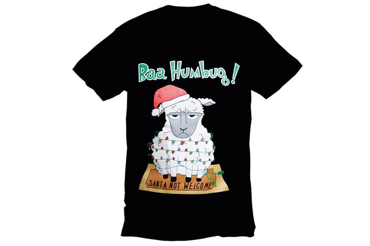 Christmas Shop T-shirt (Black Bah Humbug) (M)