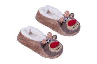 Christmas Shop Slippers For Women (Brown) (5-6 UK)