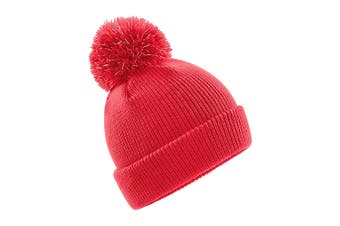 Beechfield Childrens/Kids Reflective Bobble Beanie (Bright Red) (One size)