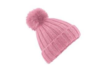 Beechfield Unisex Verbier Fur Pom Pom Chunky Beanie (Dusky Pink) (One Size)