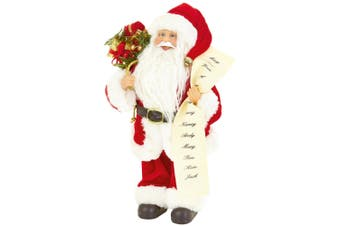 Christmas Shop Standing Santa With List Decoration (Santa) (One size)