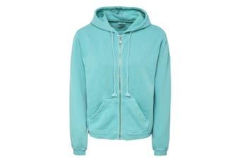 Comfort Colors Womens/Ladies Zipped Hooded Sweatshirt (Seafoam) (2XL)