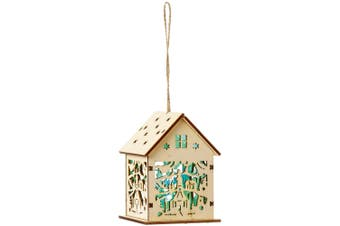 Christmas Shop Lit Wooden House (Church Scene) (One Size)