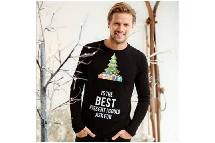 Christmas Shop Mens Customisable '...Is The Best' Long Sleeve Tshirt (Black) (XL)
