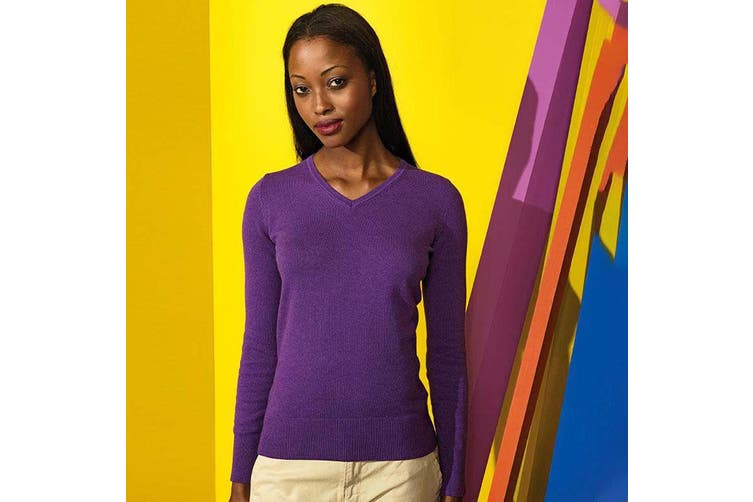 Asquith And Fox Womens/Ladies V-Neck Sweater (Purple Heather) (XS)