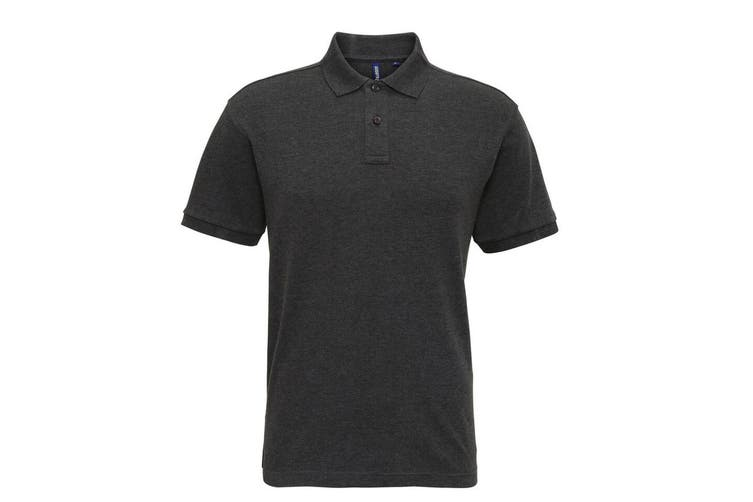 Asquith & Fox Mens Super Smooth Knit Polo Shirt (Black Heather) (M)