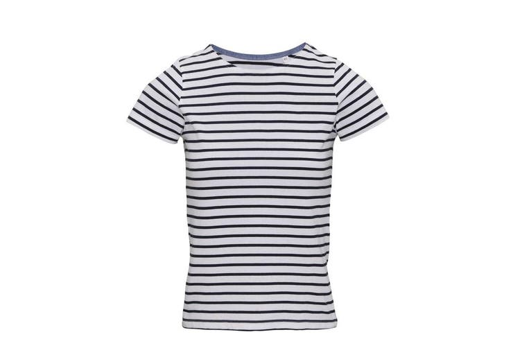 Asquith & Fox Womens/Ladies Mariniere Coastal Short Sleeve T-Shirt (White/Navy) (S)