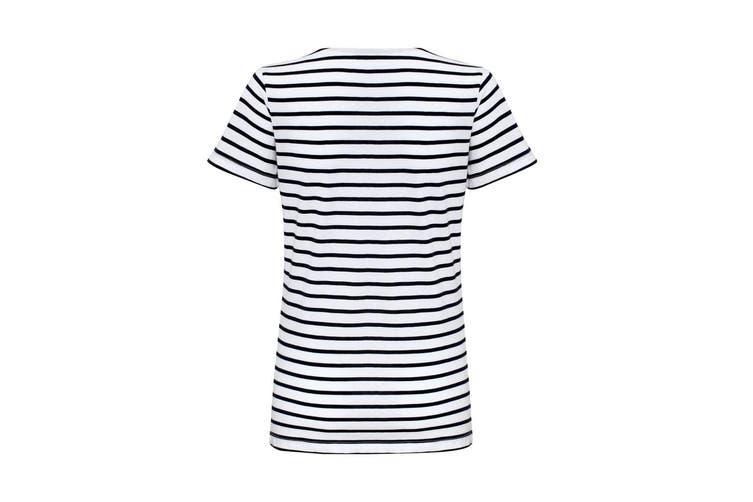 Asquith & Fox Womens/Ladies Mariniere Coastal Short Sleeve T-Shirt (White/Navy) (XS)