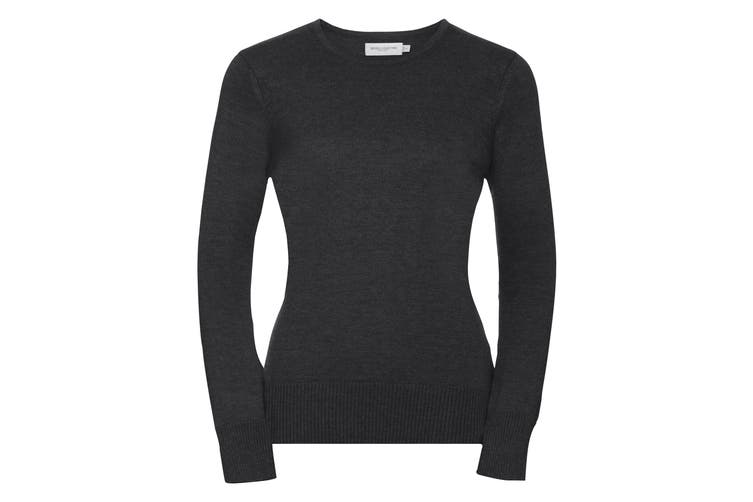 Russell Collection Womens/Ladies Crew Neck Knitted Pullover Sweatshirt (Charcoal Marl) (4XL)