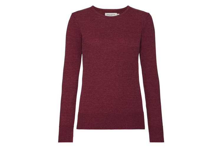 Russell Collection Womens/Ladies Crew Neck Knitted Pullover Sweatshirt (Cranberry Marl) (2XL)