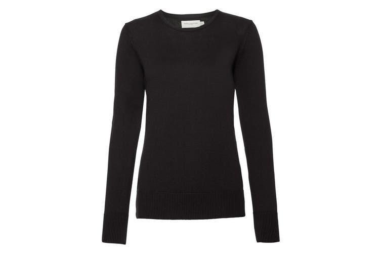 Russell Collection Womens/Ladies Crew Neck Knitted Pullover Sweatshirt (Black) (2XS)