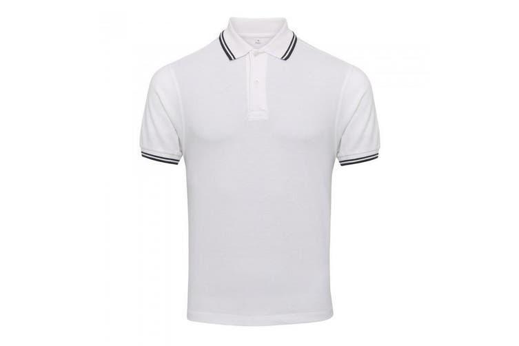 AWDis Mens Stretch Tipped Polo Shirt (Navy/White) (M)
