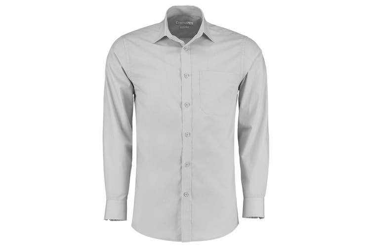 Kustom Kit Mens Long Sleeve Poplin Shirt (Light Grey) (20)