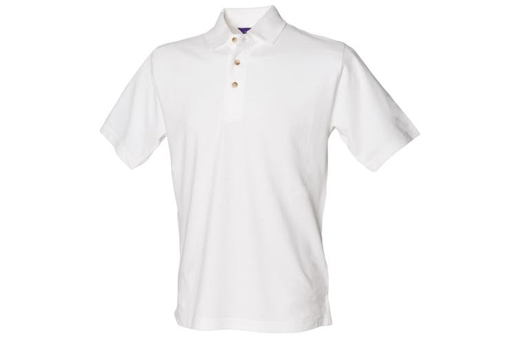 Henbury Mens Classic Plain Polo Shirt With Stand Up Collar (White) (L)