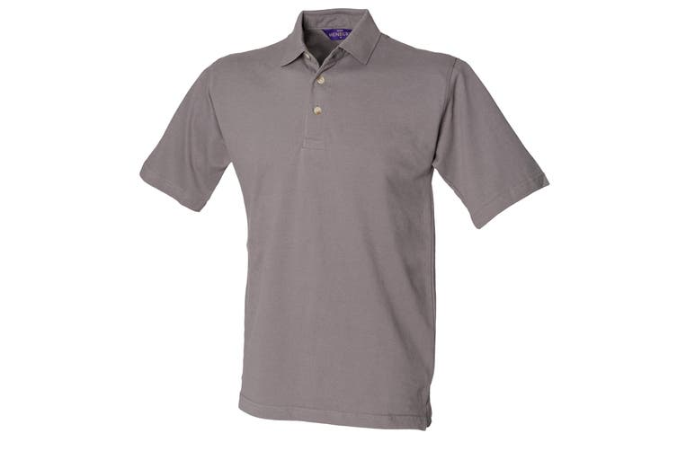 Henbury Mens Classic Plain Polo Shirt With Stand Up Collar (Slate Grey) (XL)