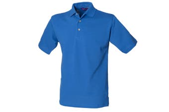Henbury Mens Classic Plain Polo Shirt With Stand Up Collar (Royal) (S)