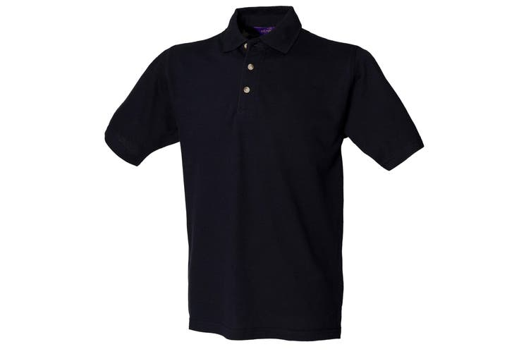 Henbury Mens Classic Plain Polo Shirt With Stand Up Collar (Navy) (3XL)